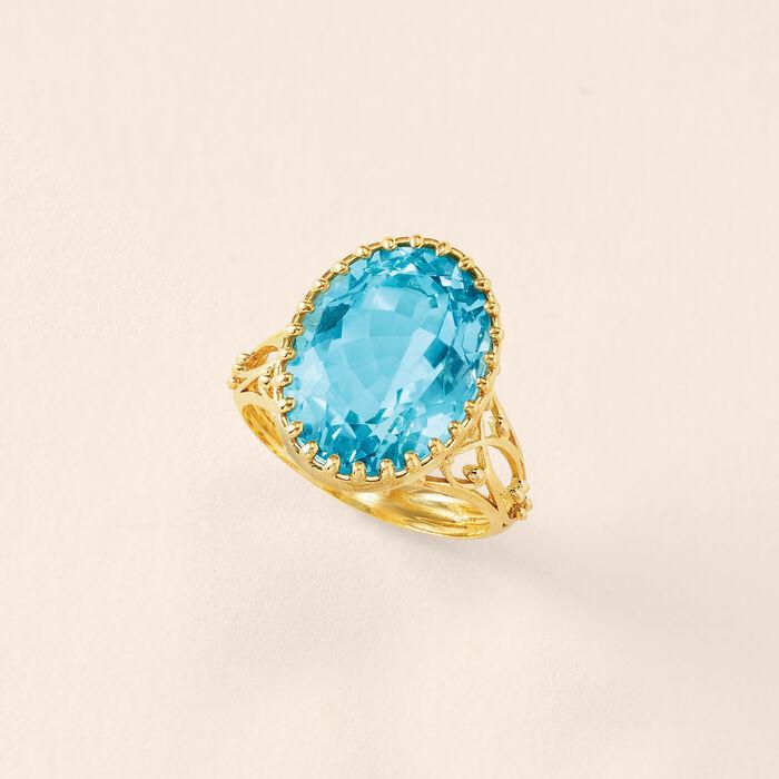 25.00 ct. t.w. Tonal Blue Topaz Dangle Earrings in 14kt Yellow Gold