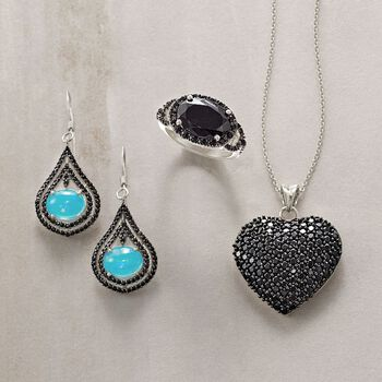 Ethiopian Blue Opal and Black Spinel Drop Earrings in Sterling Silver, , default