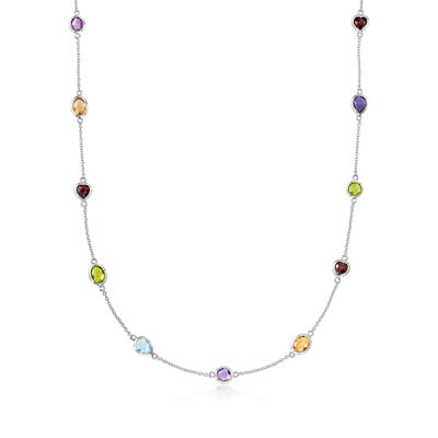 8.40 ct. t.w. Multi-Gem Station Necklace in Sterling Silver