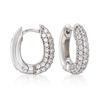 "Belle Etoile ""Pave"" 1.50 ct. t.w. CZ Squared Hoop Earrings in Sterling Silver. 5/8"", , default"
