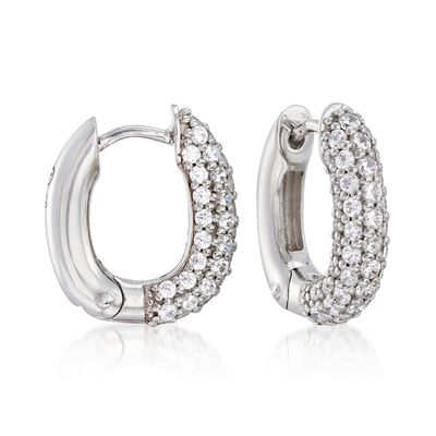"Belle Etoile ""Pave"" 1.50 ct. t.w. CZ Squared Hoop Earrings in Sterling Silver, , default"