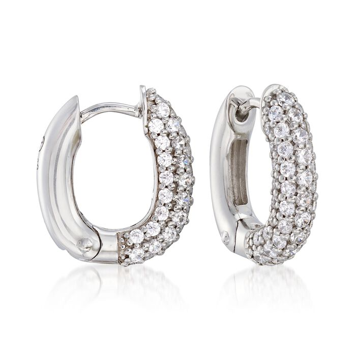 """Belle Etoile """"Pave"""" 1.50 ct. t.w. CZ Squared Hoop Earrings in Sterling Silver. 5/8"""", , default"""