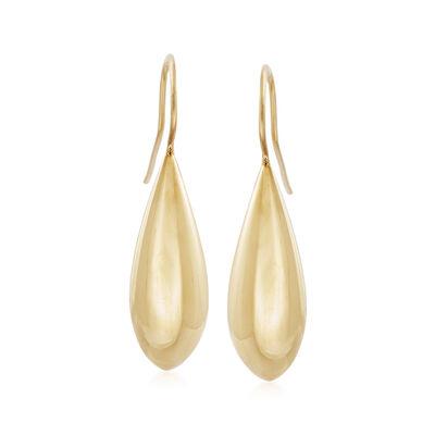 Italian 18kt Gold Over Sterling Teardrop Earrings, , default