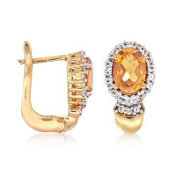 1.60 ct. t.w. Citrine and .33 ct. t.w. White Topaz Earrings in 18kt Gold Over Sterling, , default