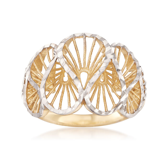14kt Two-Tone Gold Swirl Ring
