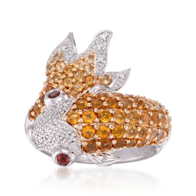 1.30 ct. t.w. Citrine Koi Ring with Diamonds and Garnets in Sterling Silver
