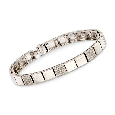 C. 1990 Vintage .80 ct. t.w. Diamond Square Link Bracelet in 18kt White Gold, , default