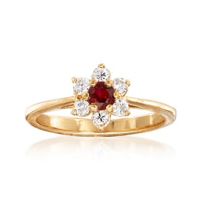 C. 1990 Vintage .25 Carat Ruby and .25 ct. t.w. Diamond Flower Ring in 14kt Yellow Gold, , default