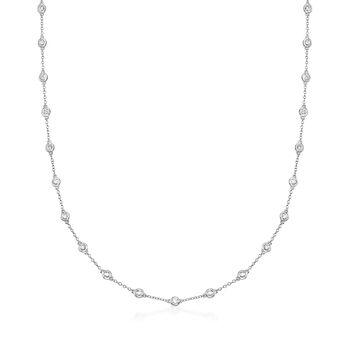 2.00 ct. t.w. Bezel-Set Diamond Station Necklace in 18kt White Gold, , default