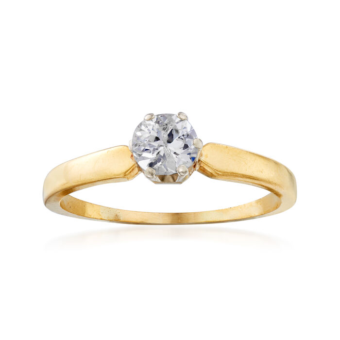 C. 1970 Vintage .55 Carat Diamond Ring in 18kt Yellow Gold. Size 8.5, , default