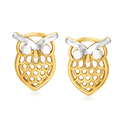 14kt Yellow Gold Openwork Owl Earrings