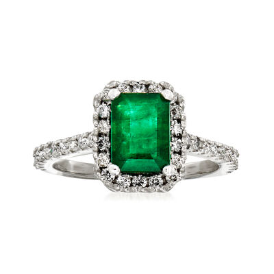 1.60 Carat Emerald and .45 ct. t.w. Diamond Halo Ring in 14kt White Gold
