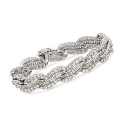 "C. 1990 Vintage 18.00 ct. t.w. Diamond S Bracelet in Platinum. 7.5"", , default"