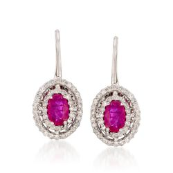 1.20 ct. t.w. Ruby and .55 ct. t.w. Diamond Earrings in 14kt White Gold, , default