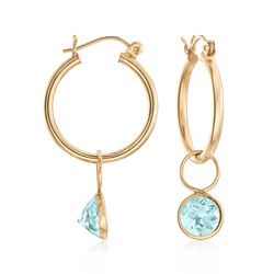 C. 1990 Vintage 14kt Yellow Gold Hoop Earrings With 4.30 ct. t.w. Blue Topaz Drops, , default