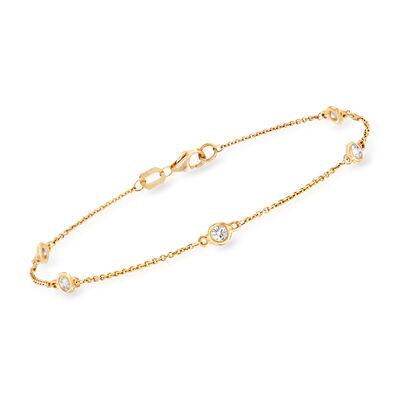 C. 2000 Vintage .34 ct. t.w. Diamond Bezel-Set Station Bracelet in 14kt Yellow Gold, , default