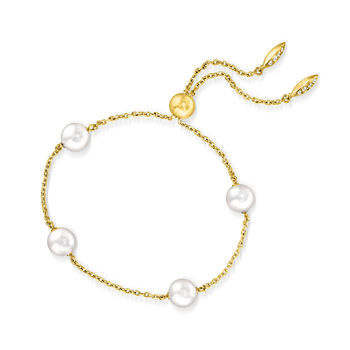 """Mikimoto """"Japan"""" 7.5mm A+ Akoya Pearl Station Bolo Bracelet with Diamond Accents in 18kt Yellow Gold, , default"""