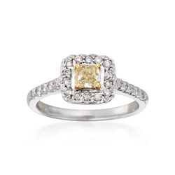 .40 Carat Fancy Yellow Diamond and .35 ct. t.w. Diamond Ring in 14kt and 18kt Gold, , default
