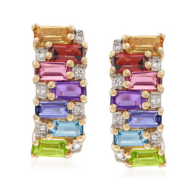 1.40 ct. t.w. Multi-Stone Earrings in 14kt Yellow Gold, , default