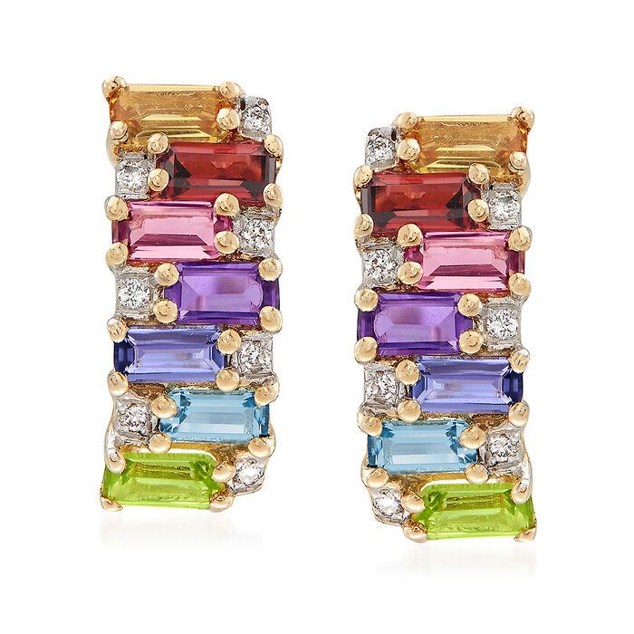 1.40 ct. t.w. Multi-Stone Earrings in 14kt Yellow Gold, , default