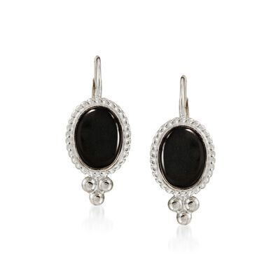 Black Onyx Rope Edge Earrings in 14kt White Gold