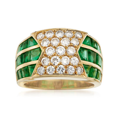 C. 1980 Vintage 3.00 ct. t.w. Square Emerald and 1.25 ct. t.w. Diamond Ring in 18kt Yellow Gold, , default