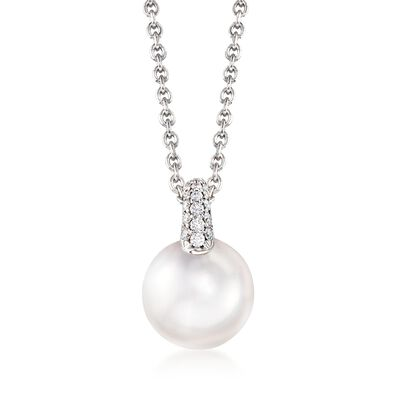 Mikimoto 8.5mm A+ Akoya Pearl and .14 ct. t.w. Diamond Pendant Necklace in 18kt White Gold, , default