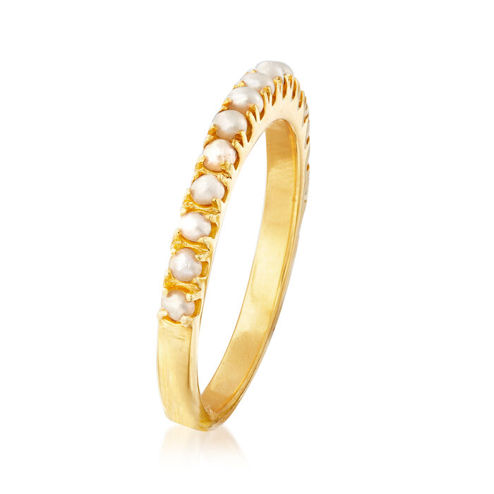 2mm Cultured Pearl Ring in 18kt Gold Over Sterling