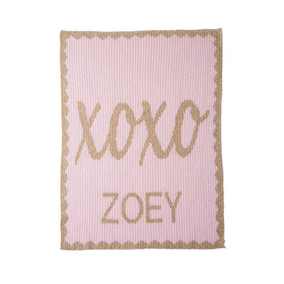 Child's Butterscotch Blankees Personalized Metallic Hugs and Kisses Name Blanket, , default
