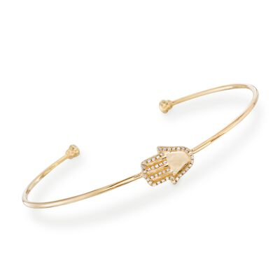 .13 ct. t.w. Diamond Hamsa Cuff Bracelet in 14kt Yellow Gold, , default