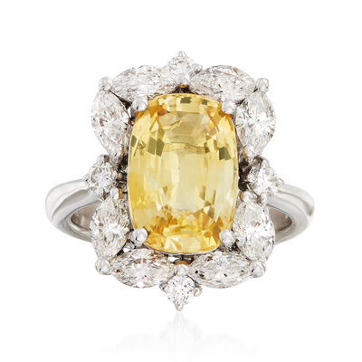 C. 1990 Vintage 4.65 Carat Yellow Sapphire and 1.85 ct. t.w. Diamond Ring in 18kt White Gold, , default