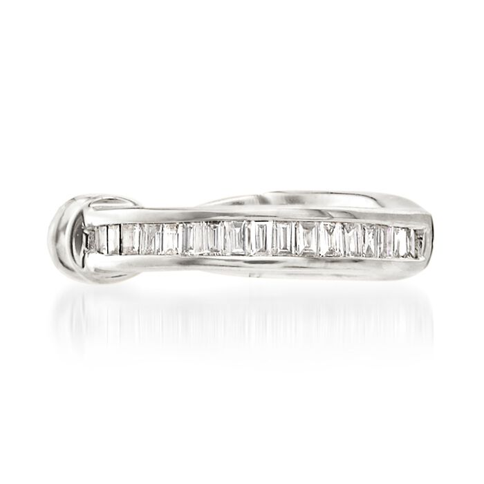 Baguette Diamond-Accented Single Ear Cuff in 14kt White Gold