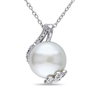 12.5-13mm Cultured Button Pearl and .10 ct. t.w. Diamond Pendant Necklace in Sterling Silver, , default