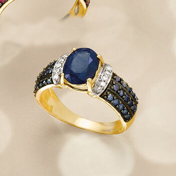 2.60 ct. t.w. Sapphire Ring with Diamond Accents in 14kt Yellow Gold, , default