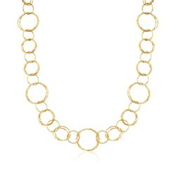 "Italian 18kt Yellow Gold Long Textured Circle Link Necklace. 36"", , default"