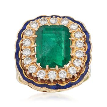 C. 1960 Vintage 3.90 Carat Emerald and .90 ct. t.w. Diamond Ring With Blue Enamel in 14kt Yellow Gold. Size 5.5, , default