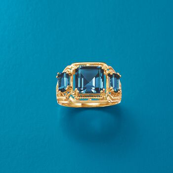 5.80 ct. t.w. London Blue Topaz Three-Stone Ring in 14kt Yellow Gold, , default