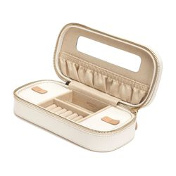 "Cream - ""Chloe"" Leather Zip Jewelry Case by Wolf Designs, , default"