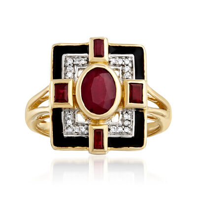 1.50 ct. t.w. Ruby and Black Enamel Ring in 14kt Yellow Gold