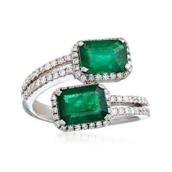 2.70 ct. t.w. Emerald and .51 ct. t.w. Bypass Ring in 18kt White Gold, , default