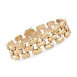 """C. 1980 Vintage 14kt Yellow Gold Panther-Link Bracelet. 7.5"""", , default"""