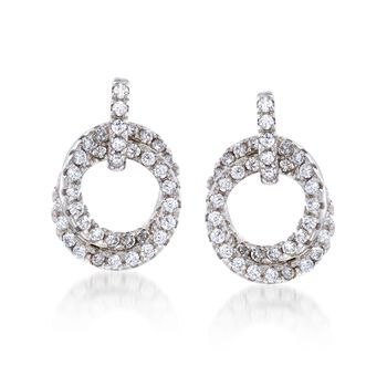 1.35 ct. t.w. CZ Double Circle Drop Earrings in Sterling Silver , , default