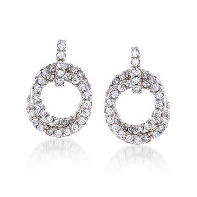 1.35 ct. t.w. CZ Double Circle Drop Earrings in Sterling Silver, , default