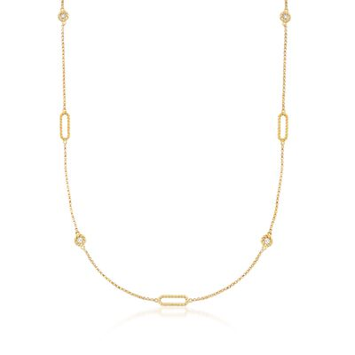 "Roberto Coin ""Barocco"" .19 ct. t.w. Diamond Station Necklace in 18kt Yellow Gold"