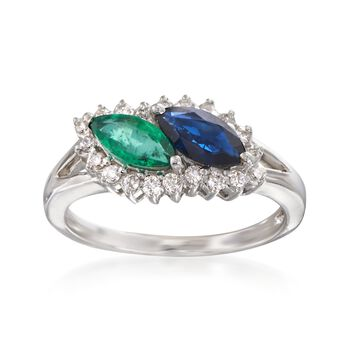 1.00 Carat Sapphire and .70 Carat Emerald Ring With Diamonds in 14kt White Gold, , default