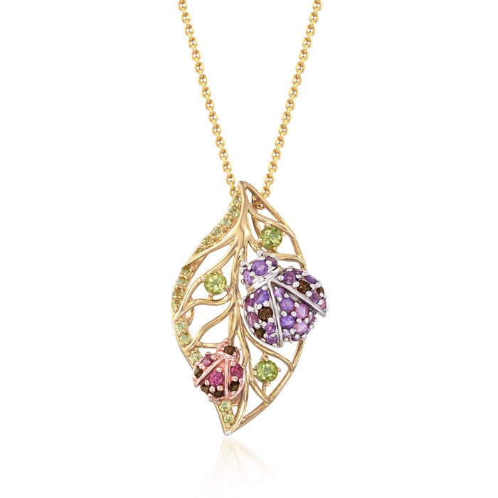 1.30 ct. t.w. Multi-Stone Ladybug Leaf Pin Pendant in Two-Tone Sterling Silver, , default