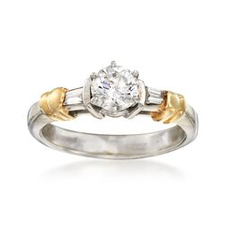 C. 1990 Vintage .67 ct. t.w. Diamond Ring in 14kt Two-Tone Gold. Size 6, , default