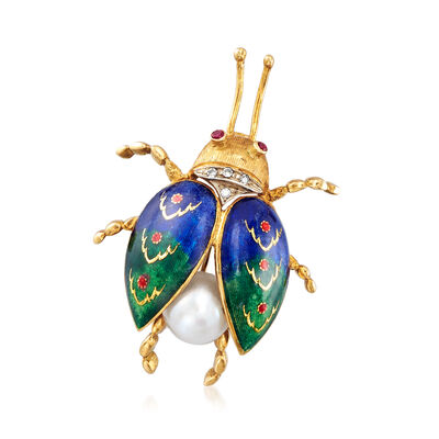 C. 1950 Vintage 8mm Cultured Pearl and Enamel Bug Pin in 18kt Yellow Gold