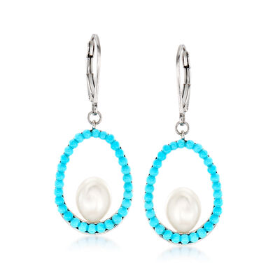 7-7.5mm Cultured Pearl and Turquoise Drop Earrings in Sterling Silver, , default