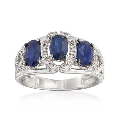 C. 1990 Vintage 1.65 ct. t.w. Sapphire and .10 ct. t.w. Diamond Ring in 14kt White Gold, , default